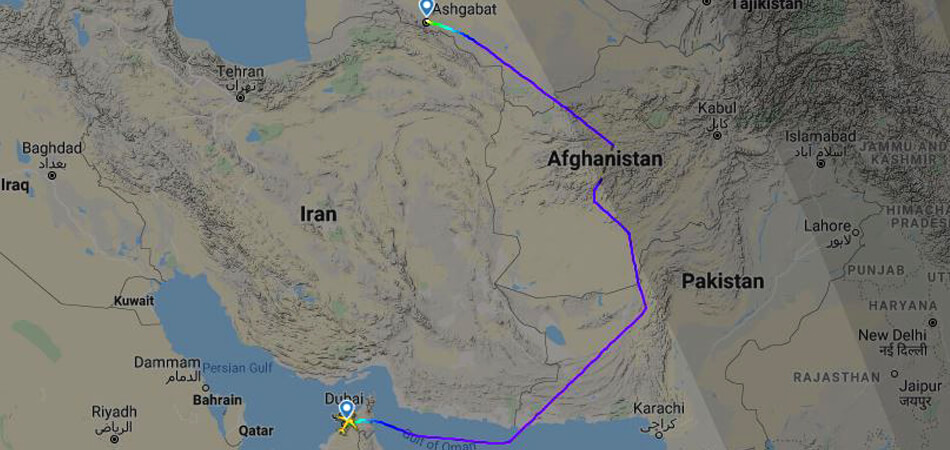 «Туркменские авиалинии» облетают территорию Ирана