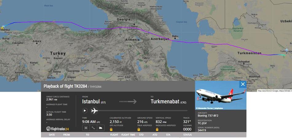 Лайнер Turkish airlines прилетел в Туркменистан за экспатами