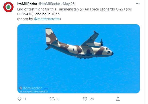 Туркменистан приобрел в Италии военный самолет?