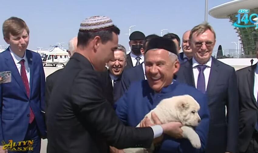 Главе Татарстана в Туркменистане подарили алабая и выразили соболезнования в связи со стрельбой в школе